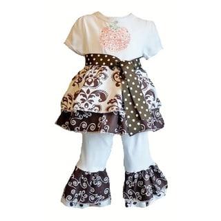Girls Boutique Style Pumpkin Ruffle Knit 2-piece Clothing Set