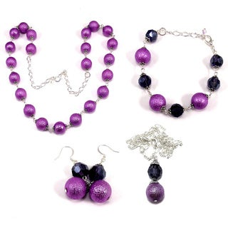 Violet Bumpy Pearl and Plum Purple Crystal 4-piece Wedding Jewelry Set