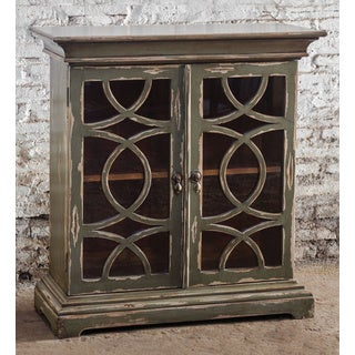 Uttermost Duran Mahogany Wood Console Cabinet with Glass Door