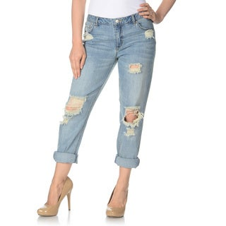 ABS by Allen Schwartz Women's Light Wash Distressed Ripped Boyfriend Jeans