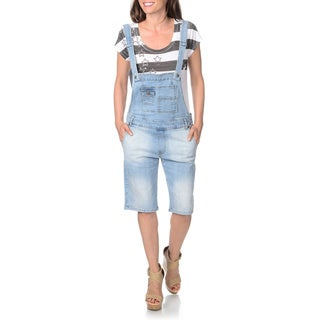 ABS by Allen Schwartz Women's Distressed Bermuda Short Overalls