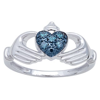 Sterling Silver 1/10ct TDW Blue Diamond Fashion Claddagh Ring (I1)