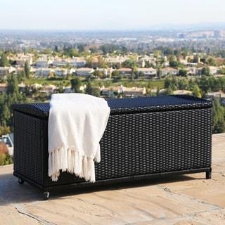 Abbyson Living Pasadena Outdoor Black Wicker Storage Ottoman