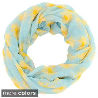 Leto Collection Women's Daisy Print Infinity Scarf