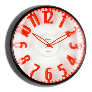 Opal Dome Glass Black Powder Coated Case Red Figure Clock