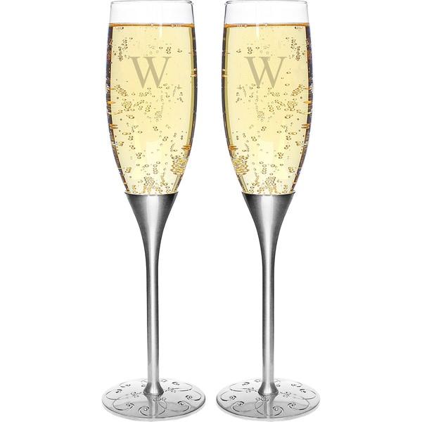 Personalized Silver Parisian Romance Champagne Flutes