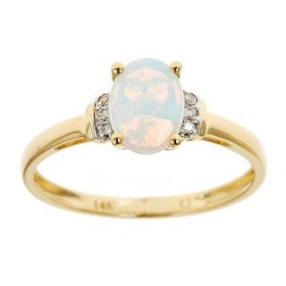 Anika and August 14k Yellow Gold Oval-cut Australian Opal Diamond Accent Ring