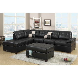 Madan Black Bonded Leather Sectional Sofa