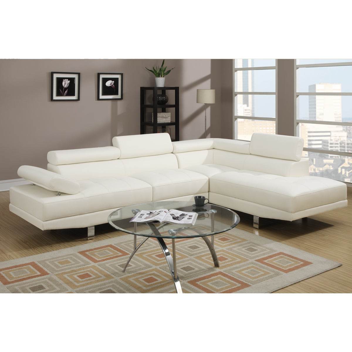 Poundex Pomorie White Faux Leather Sectional Sofa Set at Sears.com