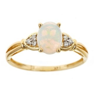 D'yach 14k Yellow Gold Oval-cut Australian Opal and Diamond Accent Ring