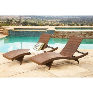 Abbyson Living Palermo Outdoor Adjustable Brown Wicker Chaise Lounge (Set of 2)