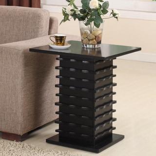 Black Finish Slated Base End Table
