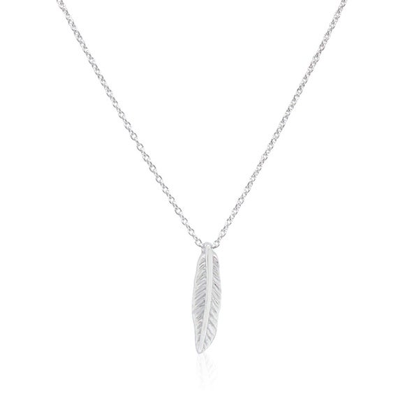 Gioelli Sterling Silver Italian Mini Feather Pendant Chain Necklace