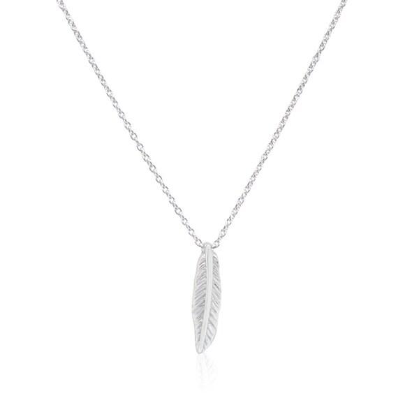 Gioelli Sterling Silver Italian Mini Feather Pendant Chain Necklace