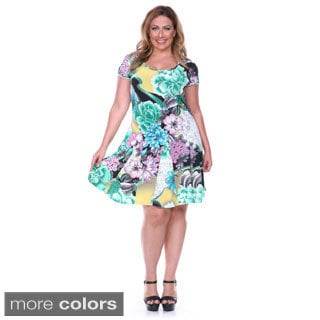 White Mark Women's Plus Fit-and-flare Large Floral Print Dress