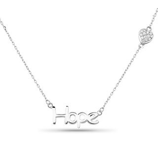 Sterling Silver 'Hope' Cubic Zirconia Heart Pendant Necklace