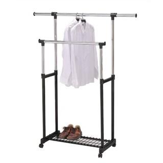 Black Double-rod Rolling Garment Trolley