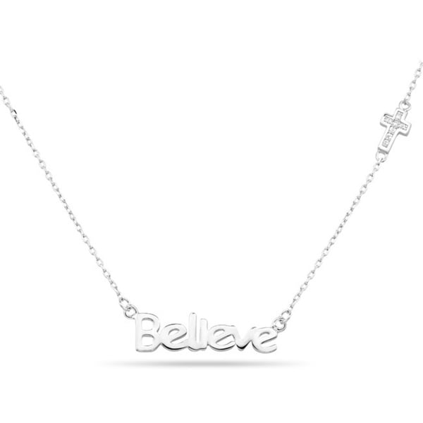 Sterling Silver 'Believe' and Cubic Zirconia Cross Necklace