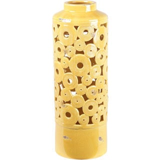 Yellow Circles Ceramic Vase