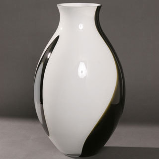 20-inch Opal Black Glass Vase