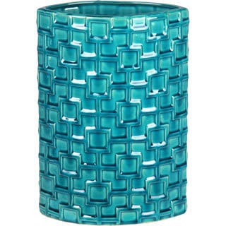 Turquoise Tall Ceramic Weave Vase