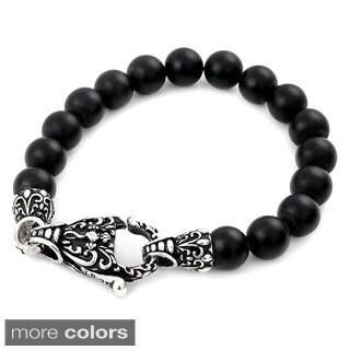 Twisted Blade Intricate Onyx Bead 7-inch Bracelet