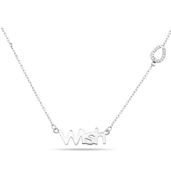 Sterling Silver Cubic Zirconia Wish Horseshoe Necklace
