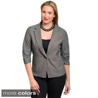 Stanzino Women's Plus Size Denim Single-button Blazer