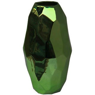 Small Metallic Green Ceramic Vase