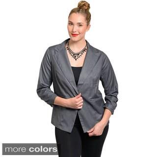 Stanzino Women's Plus Size Cinched-sleeve Blazer