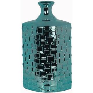 Metallic Turquoise Tall Ceramic Weave Vase