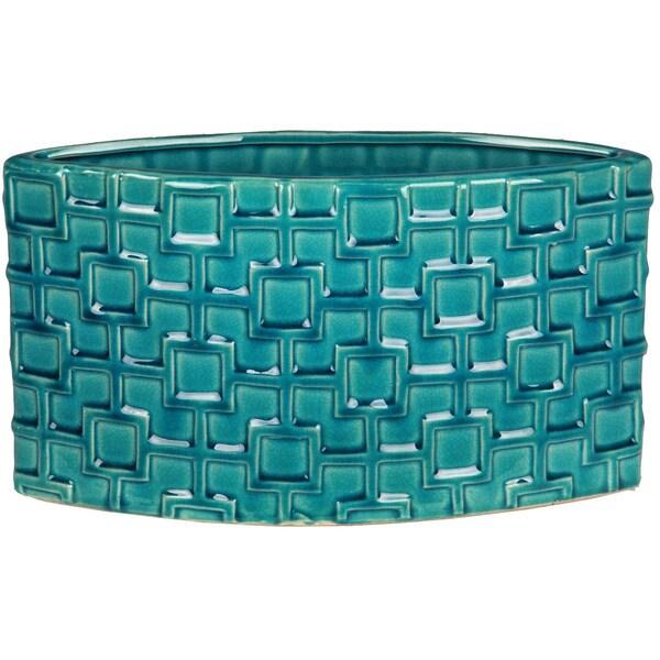 Turquoise Short Ceramic Weave Vase