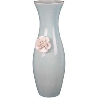 Light Blue and Pink Ceramic Vase