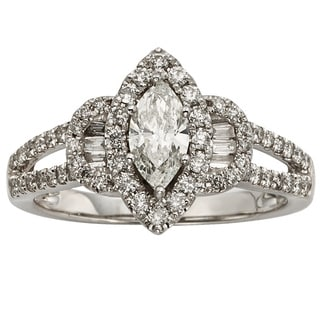 14k White Gold 1ct TDW Certified Marquise-cut Diamond Halo Engagement Ring (H-I, I1-I2)