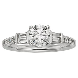 Sofia 18k White Gold 1 1/4ct TDW Certified Diamond Engagement Ring (F, SI1-SI2)