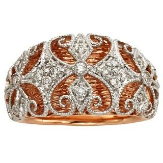 Sofia 14k Rose and White Gold 1/4ct TDW White Diamond Ring (H-I, I1-I2)