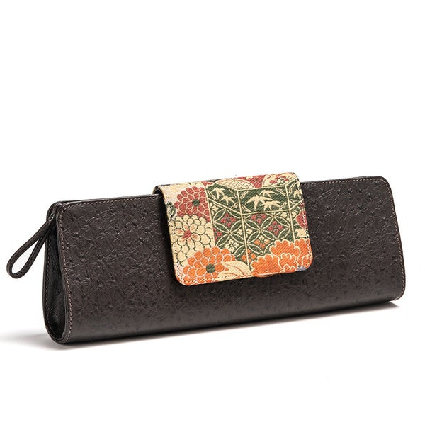 Wa Obi 'Aubrey' Coffee Fabric and Leather Clutch
