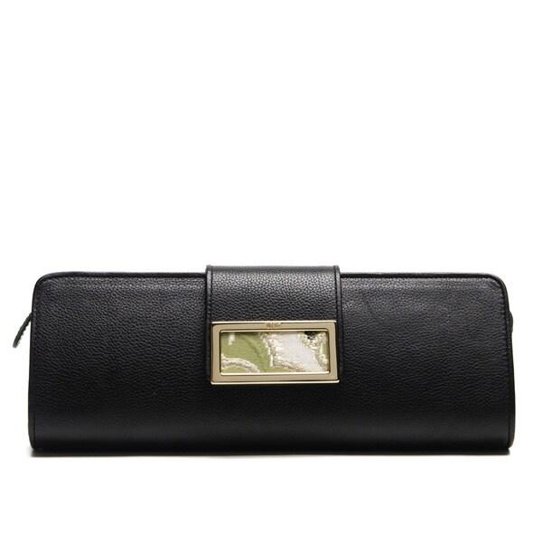 Wa Obi 'Ally' Black Leather Fabric-buckle Clutch