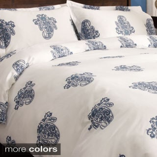 Roma Paisley Cotton Sateen 300 Thread Count 3-piece Duvet Cover Set