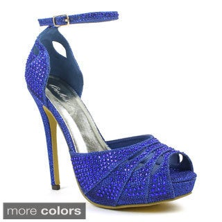Celeste Women's 'Ingrid-05' Mesh Rhinestone Cut-out Pumps