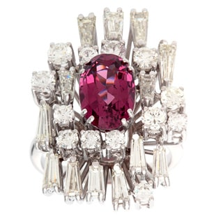 Pre-owned 18k White Gold 3 1/2ct TDW Diamond and Tourmaline Estate Cocktail Ring (G-H, VS1-VS2)