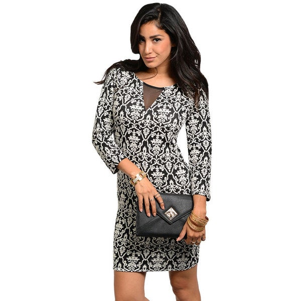 Stanzino Women's Black and White Paisley Print Dress