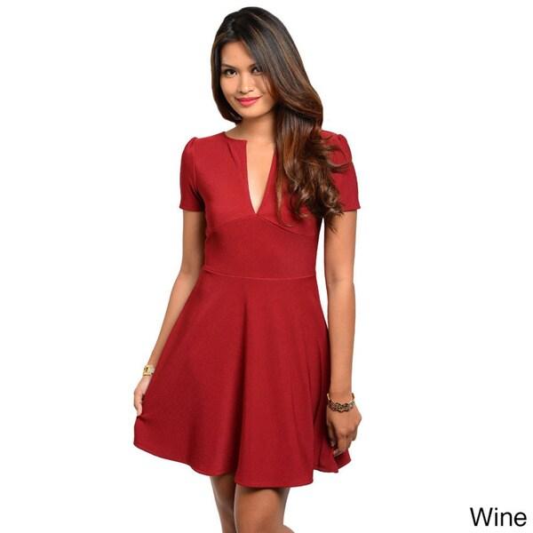 Stanzino Women's Solid Short Sleeve A-line Dress