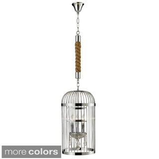 Vintage 3-light Egyptian Crystal Birdcage Chandelier
