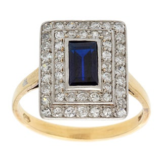 18k Yellow Gold 1/2ct TDW Diamond and Sapphire Estate Ring (H-I, SI1-SI2)