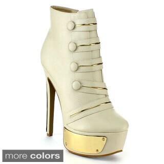 Yoki 'Diva-29' Women's Button Strap Ankle Booties
