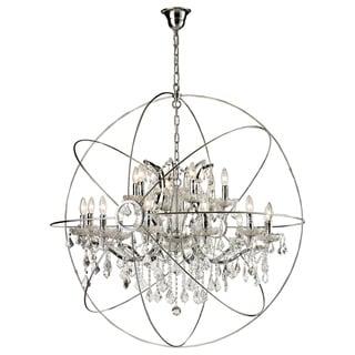 18 light Iron Egyptian Crystal Orb Chandelier Overstock