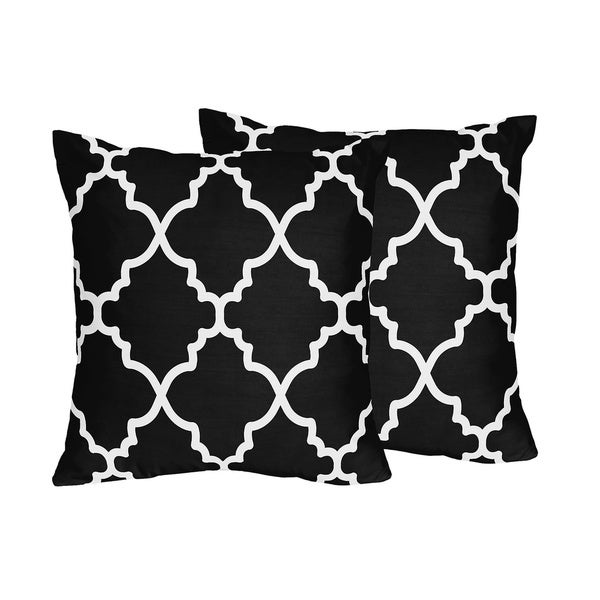 Sweet Jojo Designs Trellis Collection Black and White Lattice Print Throw Pillows (Set of 2 ...