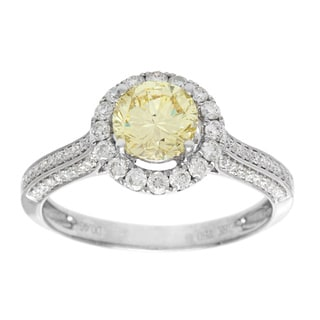18k White Gold 1 3/5ct TDW GIA Certified Yellow Diamond Estate Engagement Ring (F-G, VS1-VS2)