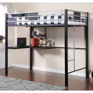 Furniture of America Blanchard Silver and Black Metal Full Size Loft Bed with Workstation